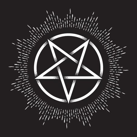 Invertiertes Pentagramm oder Pentalpha oder Fünfeck. Handgezeichnete Punktarbeit altes heidnisches Symbol der fünfzackigen Sternvektorillustration. Schwarze Arbeit, Flash-Tattoo oder Print-Design