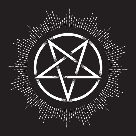 Inverted pentagram or pentalpha or pentangle. Hand drawn dot work ancient pagan symbol of five-pointed star vector illustration. Black work, flash tattoo or print design