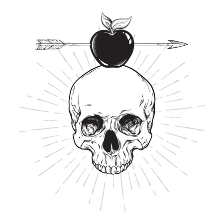 Human skull and apple pierced with arrow line art and dot work. Boho sticker, print or blackwork flash tattoo art design hand drawn vector illustration Иллюстрация
