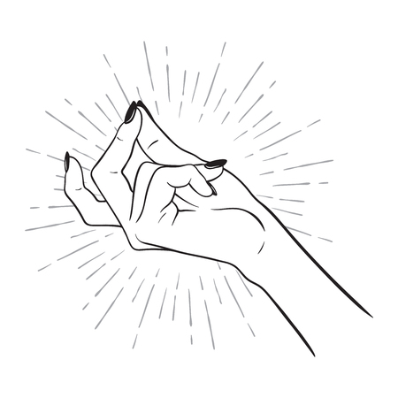 Hand drawn female hand with snapping finger gesture. Flash tattoo, blackwork, sticker, patch or print design vector illustration Illusztráció