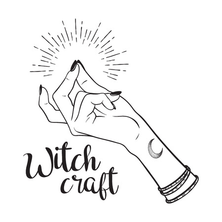 Hand drawn witch hand with snapping finger gesture. Flash tattoo, blackwork, sticker, patch or print design vector illustration Illusztráció