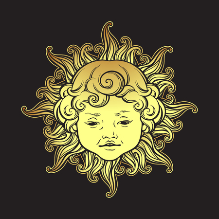 Gold sun with face of cute curly smiling baby boy isolated. Hand drawn sticker, fabric print or boho flash tattoo design vector illustration.