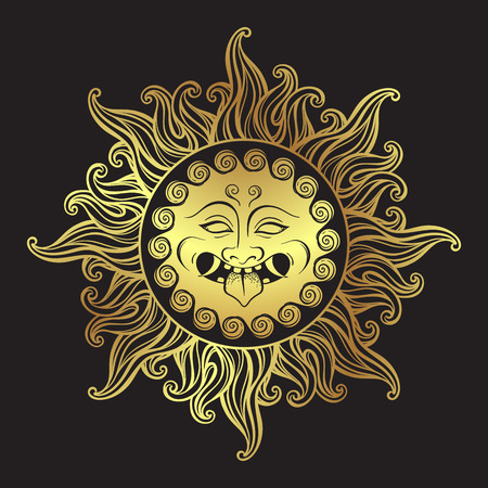 Medusa Gorgon golden head in flame hand drawn line art and dot work print design isolated vector illustration. Gorgoneion is a protective amulet Иллюстрация