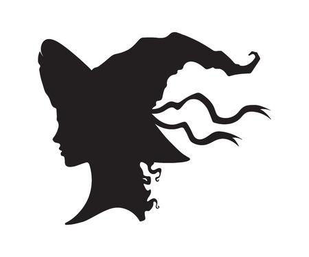 Silhouette des schönen lockigen Hexenmädchens im spitzen Hut im Profil lokalisierte handgezeichnete Vektorillustration
