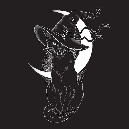 Gato negro con líneas puntiagudas de sombrero de bruja y trabajo de puntos. Wicca espíritu familiar, halloween o brujería pagana tema tapiz diseño de impresión ilustración vectorial