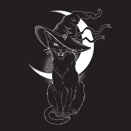 Black cat with pointy witch hat line art and dot work. Wiccan familiar spirit, halloween or pagan witchcraft theme tapestry print design vector illustration Illustration