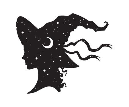 La siluetta di bella ragazza riccia della strega in cappello a punta con la luna crescente e le stelle nel profilo ha isolato l'illustrazione disegnata a mano di vettore