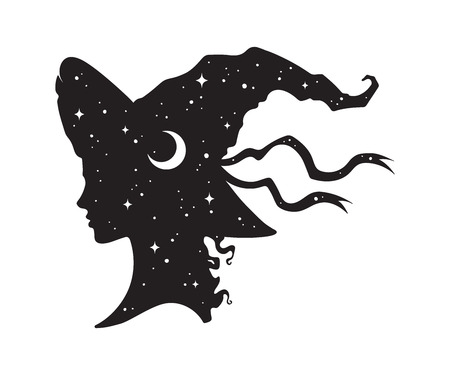 Silhouette of beautiful curly witch girl in pointy hat with crescent moon and stars in profile isolated hand drawn vector illustration Çizim