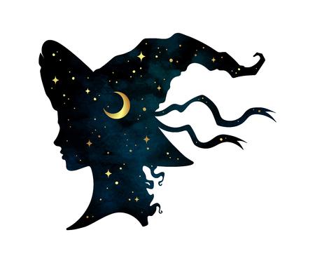 Silhouet van mooi krullend heksenmeisje in puntige hoed met wassende maan en sterren in profiel geïsoleerde hand getrokken vectorillustratie