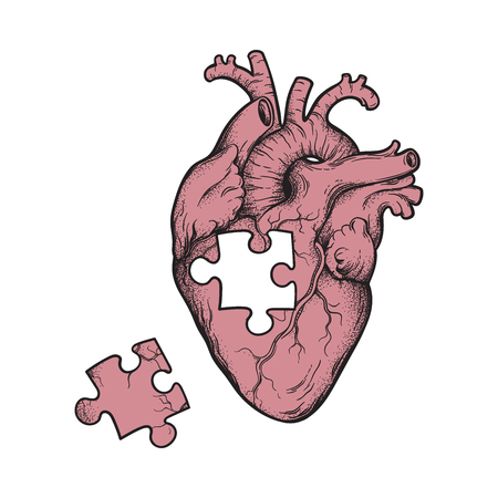 Human heart with missing puzzle piece hand drawn line art and dotwork. Flash tattoo or print design vector illustration