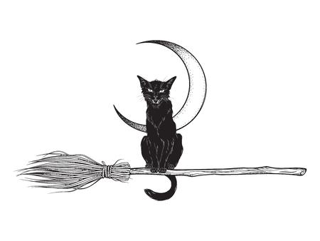Schwarze Katze reitet auf dem magischen Besenfahrzeug der Hexe handgezeichnete Tinte im Boho-Chic-Aufkleber, Patch, Flash-Tattoo oder Print-Design-Vektor-Illustration