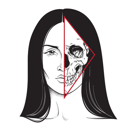 Beautiful brunette with half skull face hand drawn black and white line art and dot work. Flash tattoo, poster or print design vector illustration Çizim