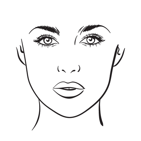 Beautiful woman portrait. Face chart Makeup Artist Blank Template. Vector illustration Ilustrace