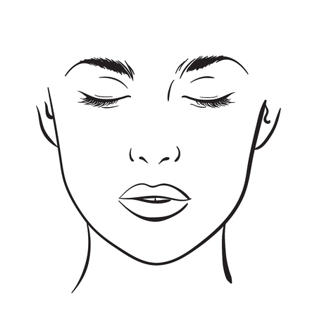 Beautiful woman portrait. Face chart Makeup Artist Blank Template. Vector illustration