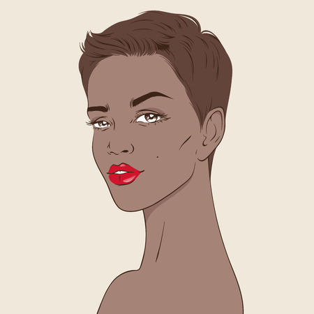 Beautiful african american woman with pixie haircut in cartoon style hand drawn vector illustration. Design for beauty salon or cosmetic product