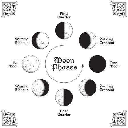 Arte de línea dibujado a mano de estilo antiguo y círculo de fases lunares de trabajo de puntos. Cartel boho chic, tatuaje, velo de altar o diseño de tapiz ilustración vectorial