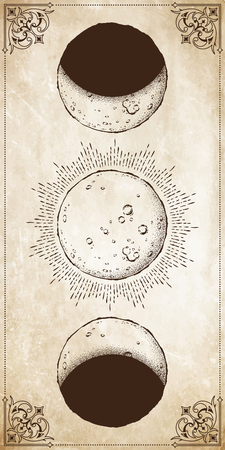 Antique style hand drawn line art and dot work moon phases. Boho chic poster, fabric, altar veil or tapestry design vector illustration Ilustração