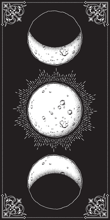 Antique style hand drawn line art and dot work moon phases. Boho chic poster, fabric, altar veil or tapestry design vector illustration Stock Illustratie