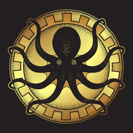 Kraken on shield hand drawn black and gold line art and dot work isolated vetor illustration