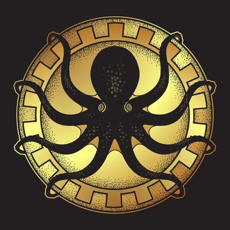Kraken on shield hand drawn black and gold line art and dot work isolated vetor illustration