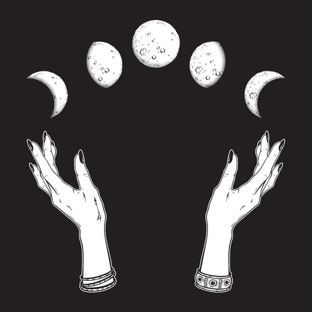 Hand drawn line art and dot work moon phases in hands of witch isolated. Boho chic flash tattoo, poster, altar veil or tapestry print design vector illustration