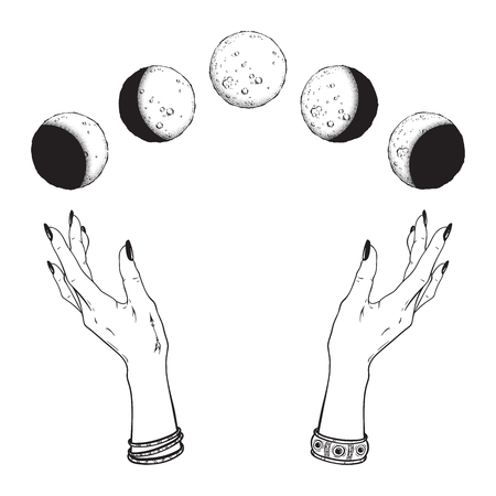 Hand drawn line art and dot work moon phases in hands of witch isolated. Boho chic flash tattoo, poster, altar veil or tapestry print design vector illustration Фото со стока - 124019012