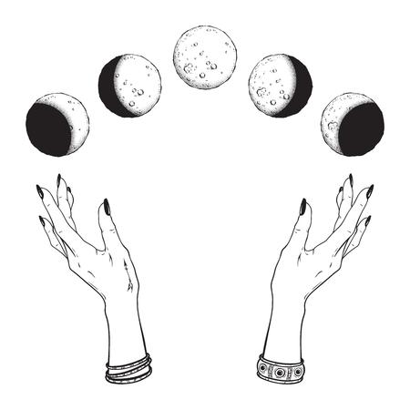 Ręcznie rysowane grafiki liniowej i kropka pracy faz księżyca w rękach czarownicy na białym tle. Boho chic flash tatuaż, plakat, welon ołtarzowy lub ilustracja wektorowa druku gobelinu