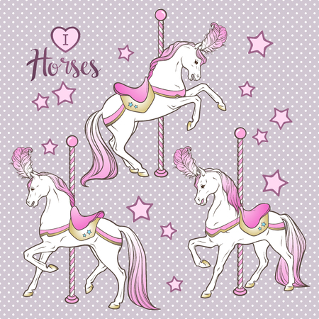 Cute carousel horses and stars set hand drawn design for kids in pastel colors vector illustration