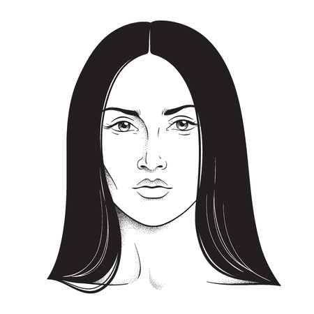 Beautiful brunette woman portrait line art and dot work. Face chart makeup artist blank template vector illustration
