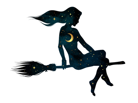 Silhouette of beautiful witch girl on a broom with crescent moon and stars in profile isolated hand drawn vector illustration. Vettoriali