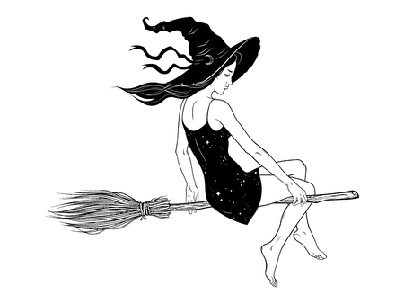 Beautiful witch girl riding broom hand drawn line art vector illustration. Boho chic tattoo, poster, tapestry or altar veil print design vector illustration