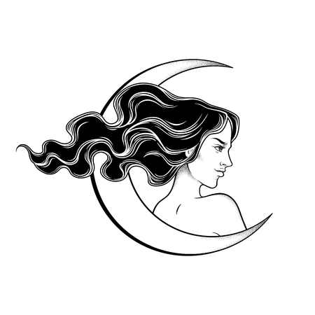 Beautiful brunette witch and the crescent moon line art and dot work. Boho chic tattoo, poster, tapestry or altar veil print design vector illustration Stock Illustratie