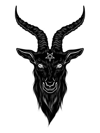 Baphomet demon goat head hand drawn print or black work flash tattoo art design vector illustration Stock Illustratie
