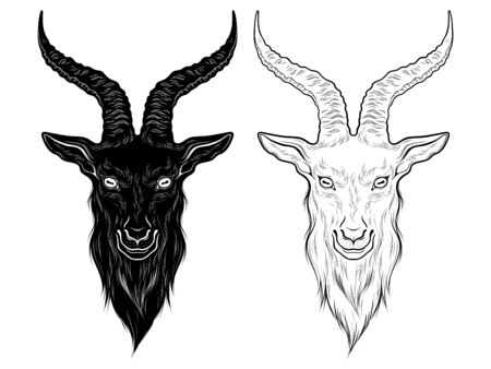 Baphomet demon goat head hand drawn print or blackwork flash tattoo art design vector illustration