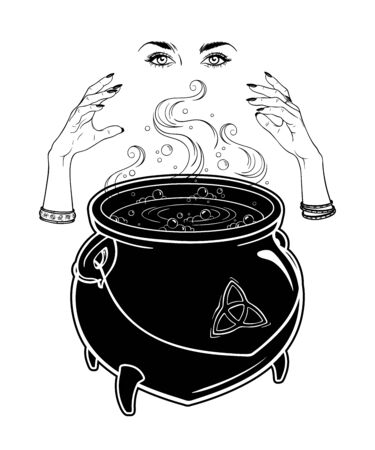 Boiling magic cauldron and witch hands cast a spell vector illustration. Hand drawn wiccan design, astrology, alchemy, magic symbol or halloween design