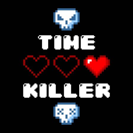 Minimalistic pixel art vector objects isolated game 8 bit style graphic symbols. Time killer skull and heart.