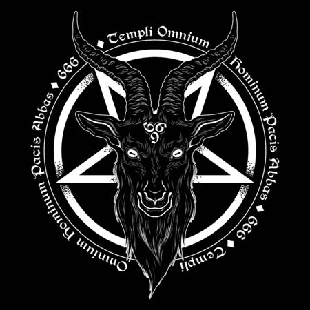 Baphomet demon goat head hand drawn print or blackwork flash tattoo art design vector illustration. Latin inscription translation - father of the temple of peace of all men Иллюстрация