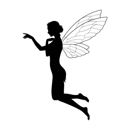 Beautiful girl fairy silhouette in profile isolated. Boho chic tattoo, sticker or print design vector illustration