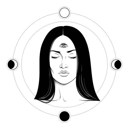 Beautiful brunette woman with third eye over the moon phases circle line art and dot work print or tattoo design vector illustration Stock Illustratie