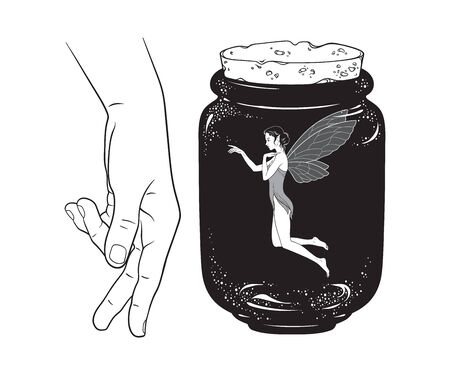Beautiful girl fairy pixie in jar line art isolated. Boho chic tattoo, sticker or print design vector illustration. Illustration