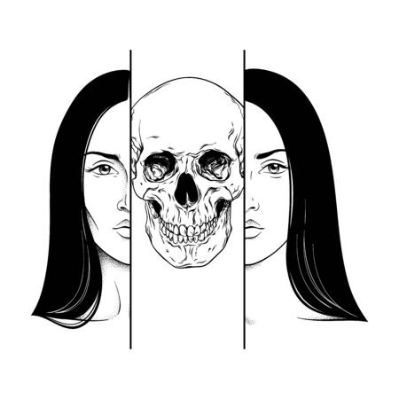 Death in the guise of a woman hand drawn black and white line art and dot work. Flash tattoo, poster or print design vector illustration.