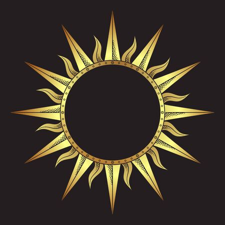 Ornate antique gold etching style frame in a shape of sun rays hand drawn vector illustration.