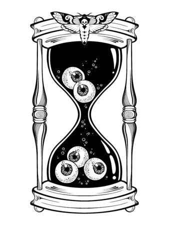 Hourglass with eyeballs halloween sticker, print or blackwork tattoo design hand drawn line art vector illustration 矢量图像