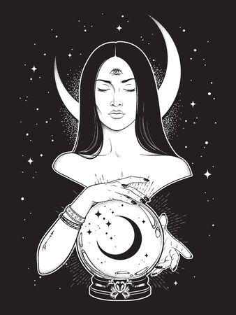 Profetisa con bola de cristal mágica de lectura del tercer ojo con arte de línea de luna creciente y trabajo de puntos. Boho chic tatuaje, cartel, tapiz o velo de altar diseño de impresión ilustración vectorial