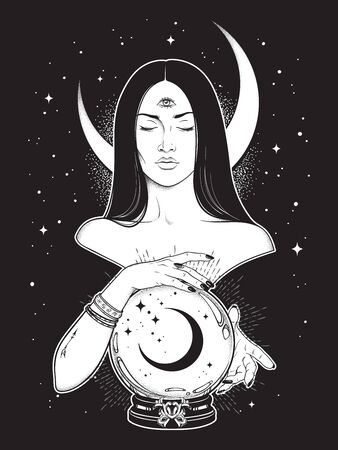 Prophetess with third eye reading magic crystal ball with crescent moon line art and dot work. Boho chic tattoo, poster, tapestry or altar veil print design vector illustration Illustration