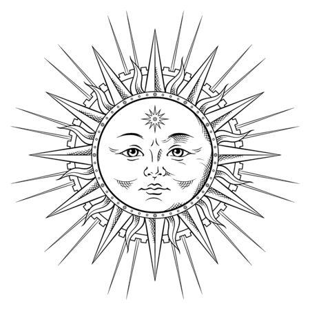 Linie Kunstsonne in der antiken stule handgezeichneten Vektorillustration Boho Chic Tattoo, Poster oder Stoffdruckdesign. Vektorgrafik