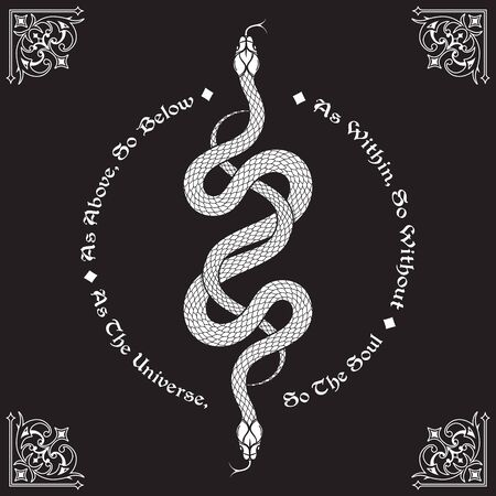 Two serpents intertwined. Inscription is a maxim in hermeticism and sacred geometry. As above, so below. Tattoo, poster or print design vector illustration. Illustration