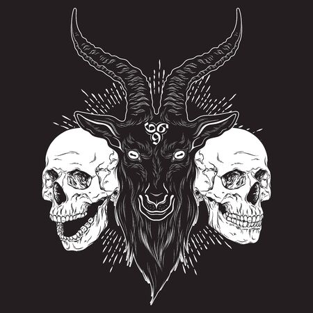 Baphomet demon goat head and human skulls hand drawn print or blackwork flash tattoo art design vector illustration