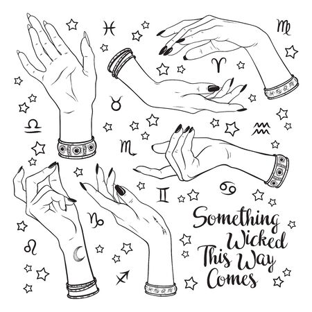 Hand drawn set of female witches hands in different poses. Flash tattoo, sticker, patch or print design vector illustration. Enscription is quote from Shakespeares Macbeth