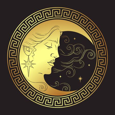 Crescent moon in antique style hand drawn line art boho chic art tattoo, poster, altar veil, tapestry or fabric print design vector illustration 版權商用圖片 - 145667445
